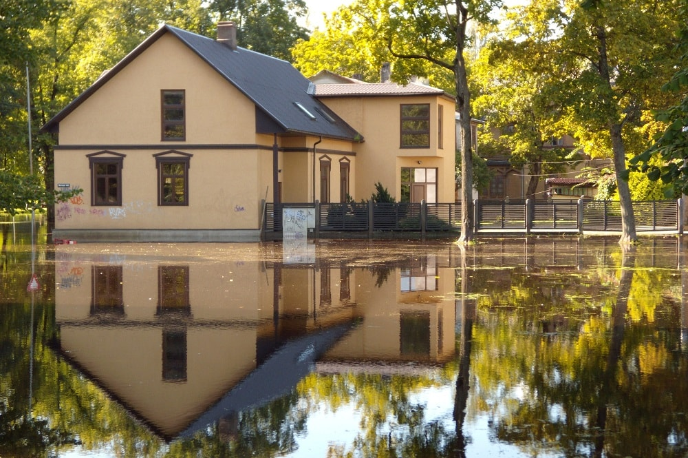 House in a flooded area